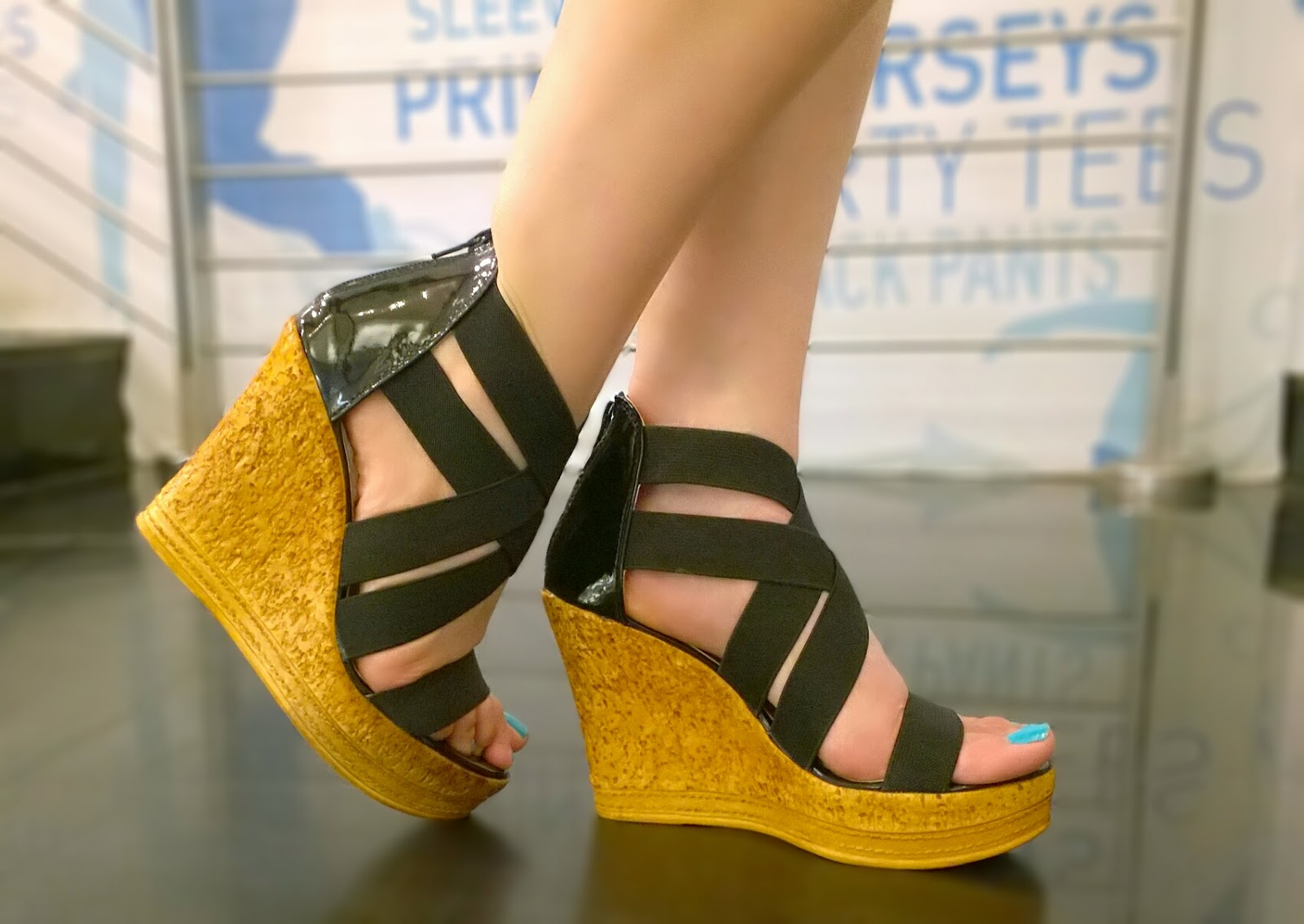 Reliance Trends Black Strappy Wedges