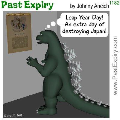 Cartoon about godzilla, tragedy,