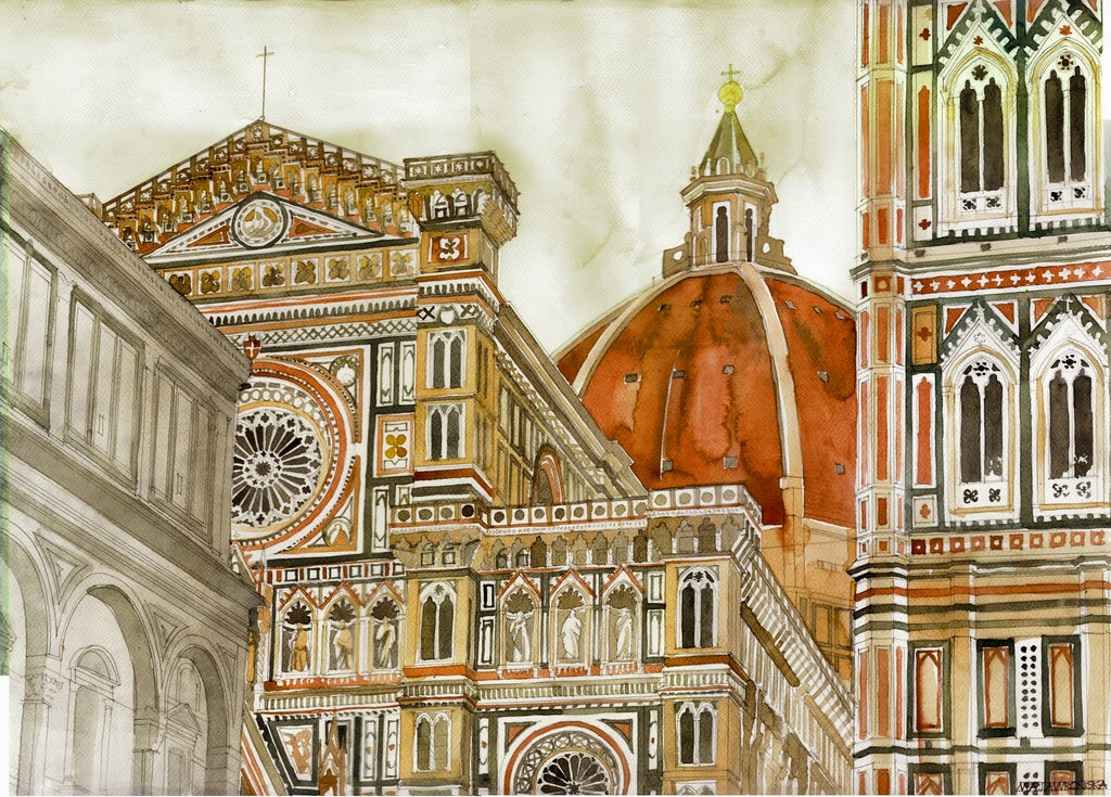 22-Santa-Maria-del-Fiore-Maja-Wronska-Travels-Architecture-Paintings-www-designstack-co