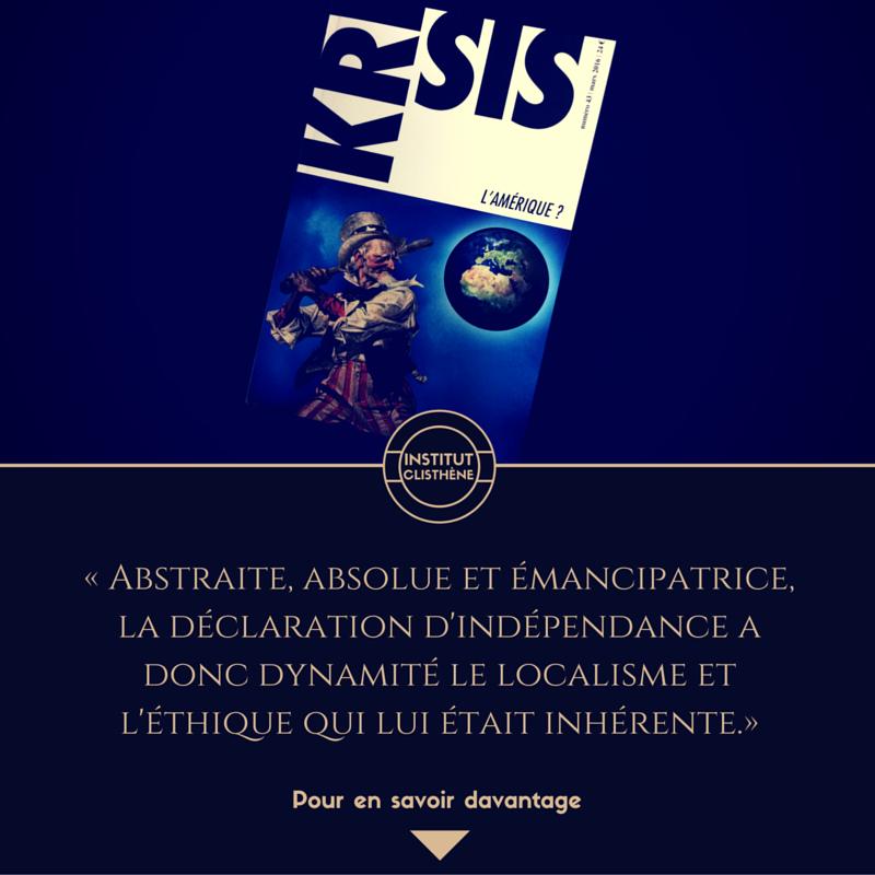 Suivez la page Facebook de l'Institut Clisthène. Pour le renouveau politique et culturel.