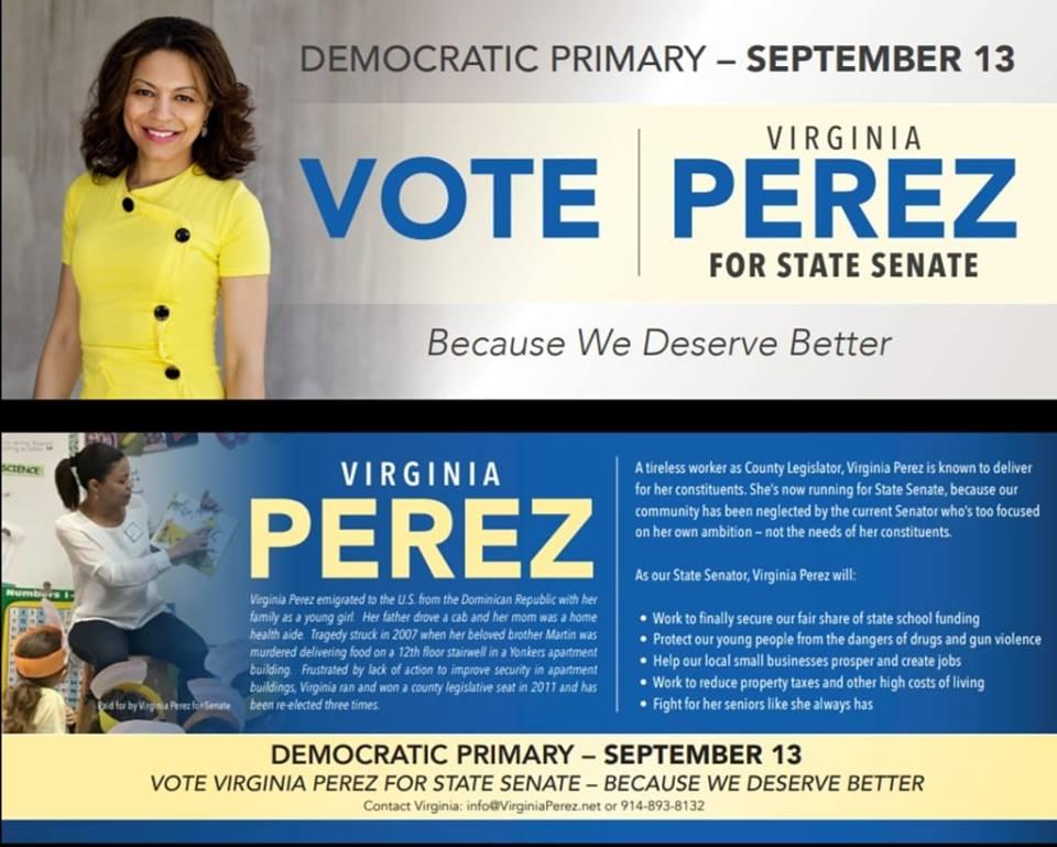Ad for County Legislator Virginia Perez, Democrat running for NY State Senate in the 35th District