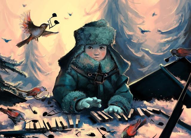 digital art children,piano playing,5 stars