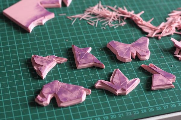 Ro Guaraz · bolsa origami · 08 · sellos tallados