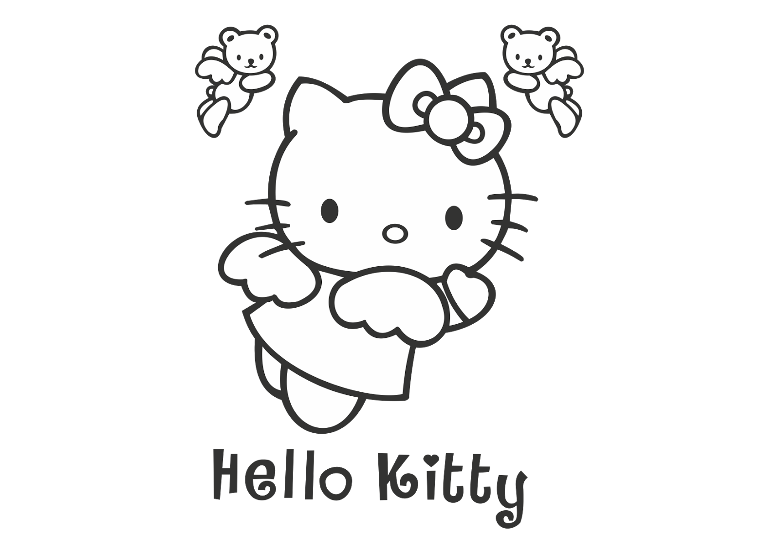 Hello Kitty Logo Vector (Black White) download free