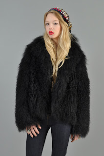 Vintage 1970's black fluffy bohemian Mongolian lamb fur coat.