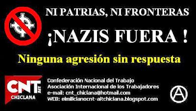 https://www.facebook.com/pages/Anarquistas/378066755607147       España: impunidad ante la simbología nazi Inundan internet, y podemos verlos en las calles o en muchos estadios de fútbol cualquier día de partido. En España, los símbolos nazis no están prohibidos. Da igual que formen parte de una bandera, un cartel, una camiseta, una pegatina o que estén tatuados en la piel de un skin. Los expertos en la persecución legal de la xenofobia confirman que, en nuestro país, se castiga la acción y el mensaje criminales, pero no la utilización de distintivos, por muy abyectas que sean las ideas que representen. La ley española no prevé castigo alguno para la mera exhibición de este tipo de símbolos «si no va acompañada de una conducta activa propia de un crimen de odio». Es decir, la mera exposición de este tipo de imágenes, por sí sola, no es punible. O dicho de otra manera, en España existe barra libre para este tipo de comportamientos. Si no articula discurso alguno ni actúa contra nadie, cualquier energúmeno puede pasear por nuestro país ondeando la bandera del III Reich, vistiendo una camiseta adornada con la calavera de las Waffen-SS hitlerianas, o mostrando una esvástica tatuada en su piel sin que se pueda hacer nada contra él con el actual Código Penal en la mano. Con todo, en España sí existe un ámbito en el que se castiga la ostentación de símbolos nazis. La Ley contra la violencia, el racismo, la xenofobia y la intolerancia en el deporte los prohíbe y sanciona específicamente, claro que el castigo es sólo económico. En el resto de casos la actual legislación española sólo permite a la Ley considerar estas imágenes como indicios, a partir de los cuales se podría abrir una investigación tras la que acaso se concluyese que un individuo o grupo incurrió en un delito. Es más, si se muestran esos símbolos durante una manifestación, las autoridades podrían interpretar que confirman otras conductas de incitación al odio, pero eso depende de los jueces y de la sensibilida
