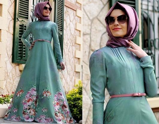 Mint bahar dallı tesettür elbise