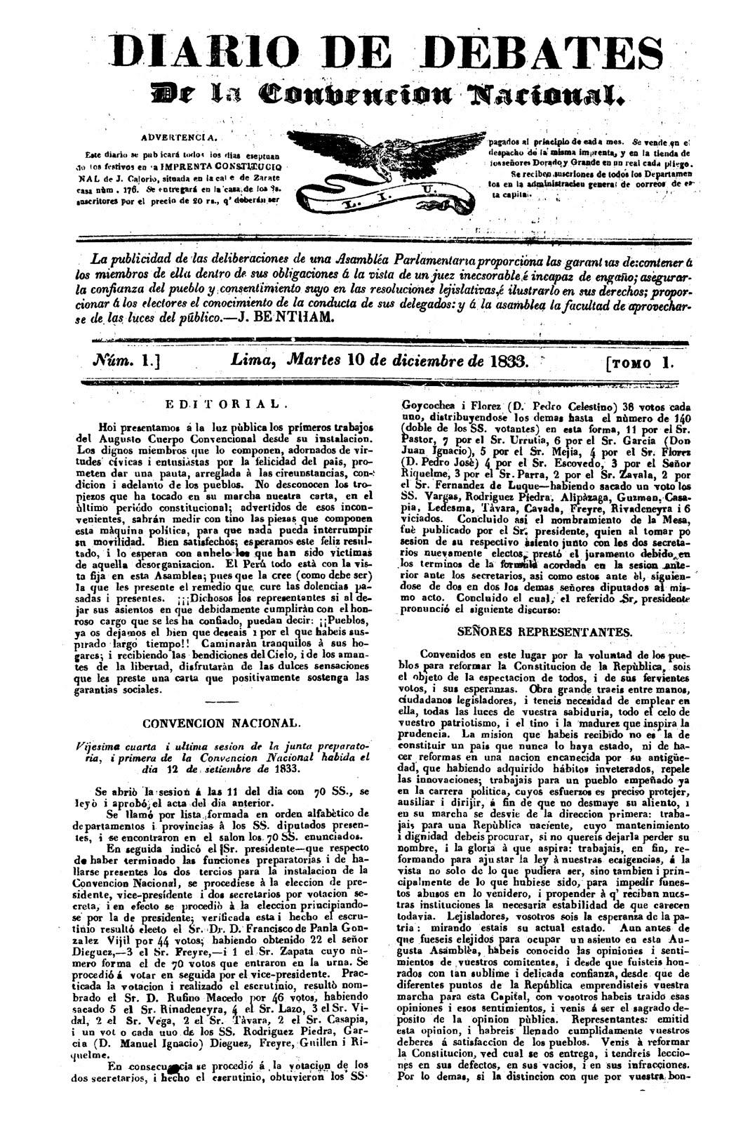 Diario de Debates de la Convención Nacional 1833-1834