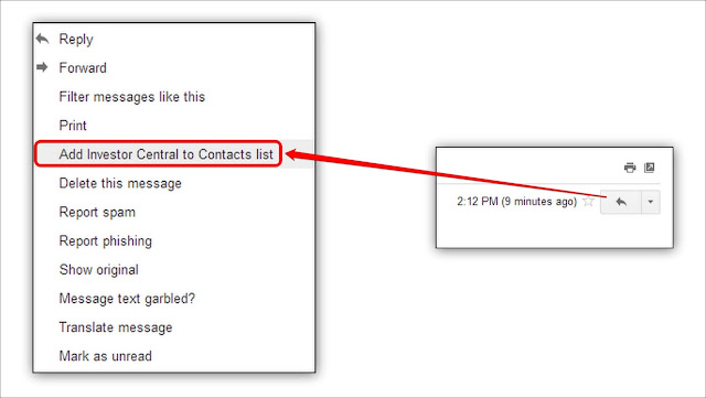 Drop down to add Gmail Sender to Contacts list