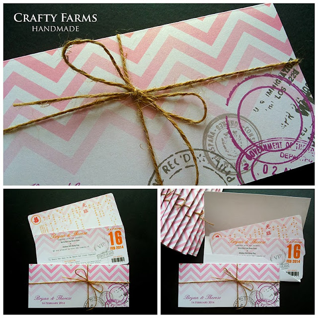 kuala lumpur pink gradient chevron boarding pass invitation for destination wedding
