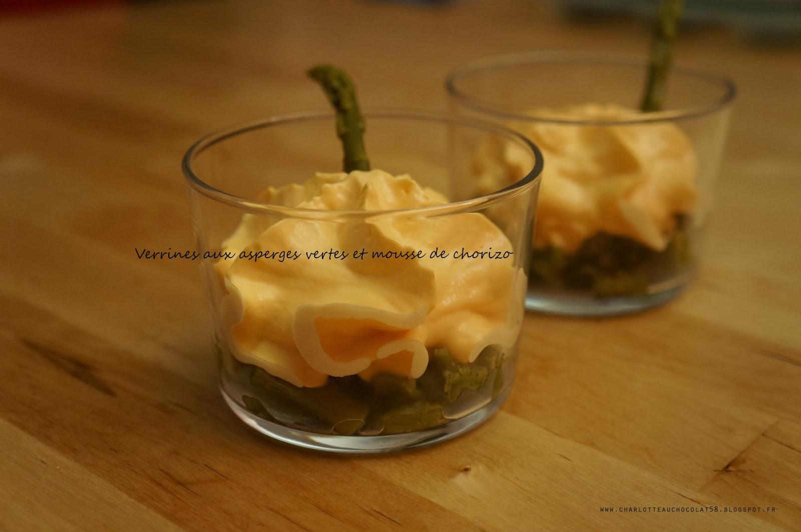 charlotteauchocolat58 blog culinaire lyon verrines d 39 asperges vertes et mousse de chorizo. Black Bedroom Furniture Sets. Home Design Ideas