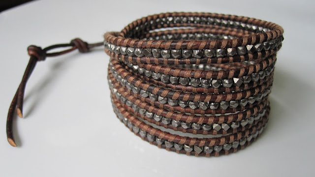 Chan Luu Men's style 5 wrap bracelet - Antique Gunmetal Wrap Bracelet on Red Brown Leather