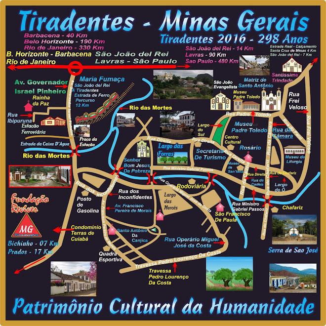 Mapa Turístico de Tiradentes - Minas Gerais