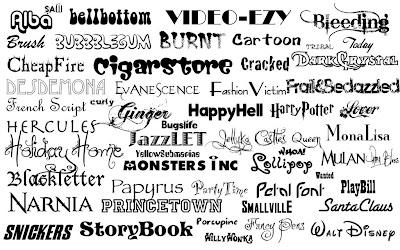 различные виды шрифтов