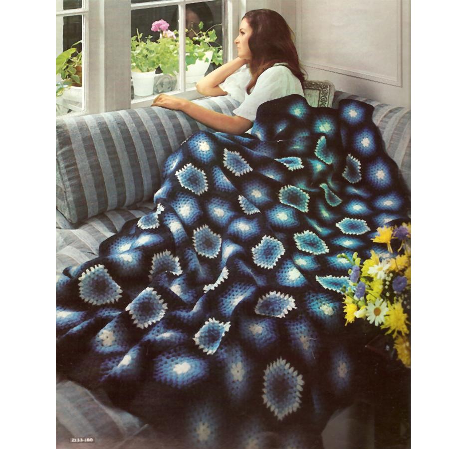 Crochet Pattern For Large Afghan : Vintage Knit Crochet Pattern Shop: Bernat Afghans to Knit ...