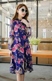 High Neck Ruffle Long Sleeve Rose and Animal Print Midi Dress