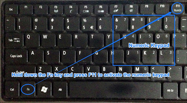 Keyboard showing position on Function and Num Lock key as well as the numeric keypad