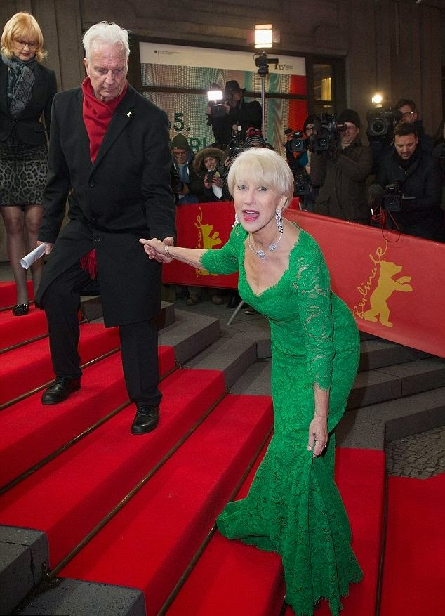 Helen Mirren puts her old asset on full display in a green gown by Dolce & Gabbana design at the 65th Berlinale International Film Festival in Germany on Monday, February 9, 2014