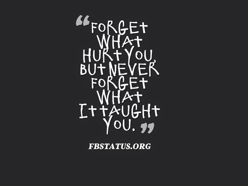 Forget what hurt you, but never forget what it taught you. --Life Status