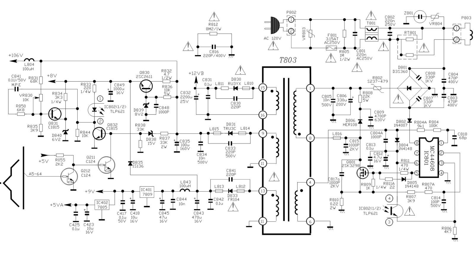 untitled.bmp tcl ctr1042 ctr2014 ctr2116 ctr2516 power supply smps Basic Electrical Wiring Diagrams at reclaimingppi.co