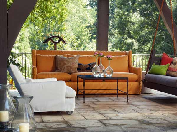 Lotus Outdoor Slipcovered Sofa with the Cabo Outdoor Slipcovered Chair - CAPERS: Outdoor Furniture From LEE Industries