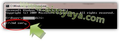 Gambar: cara membuat folder con dengan perintah (command) md atau mkdir