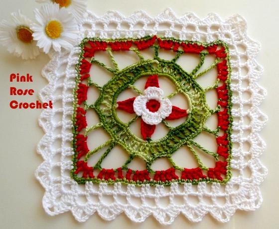 Bellísimo granny o aplique con aire de Navidad - con esquemas para tejer al crochet