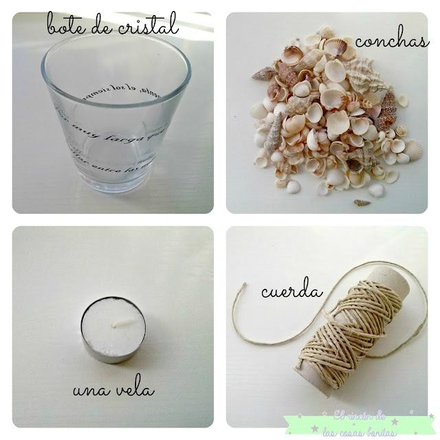 portavelas tarro frasco cristal con conchas