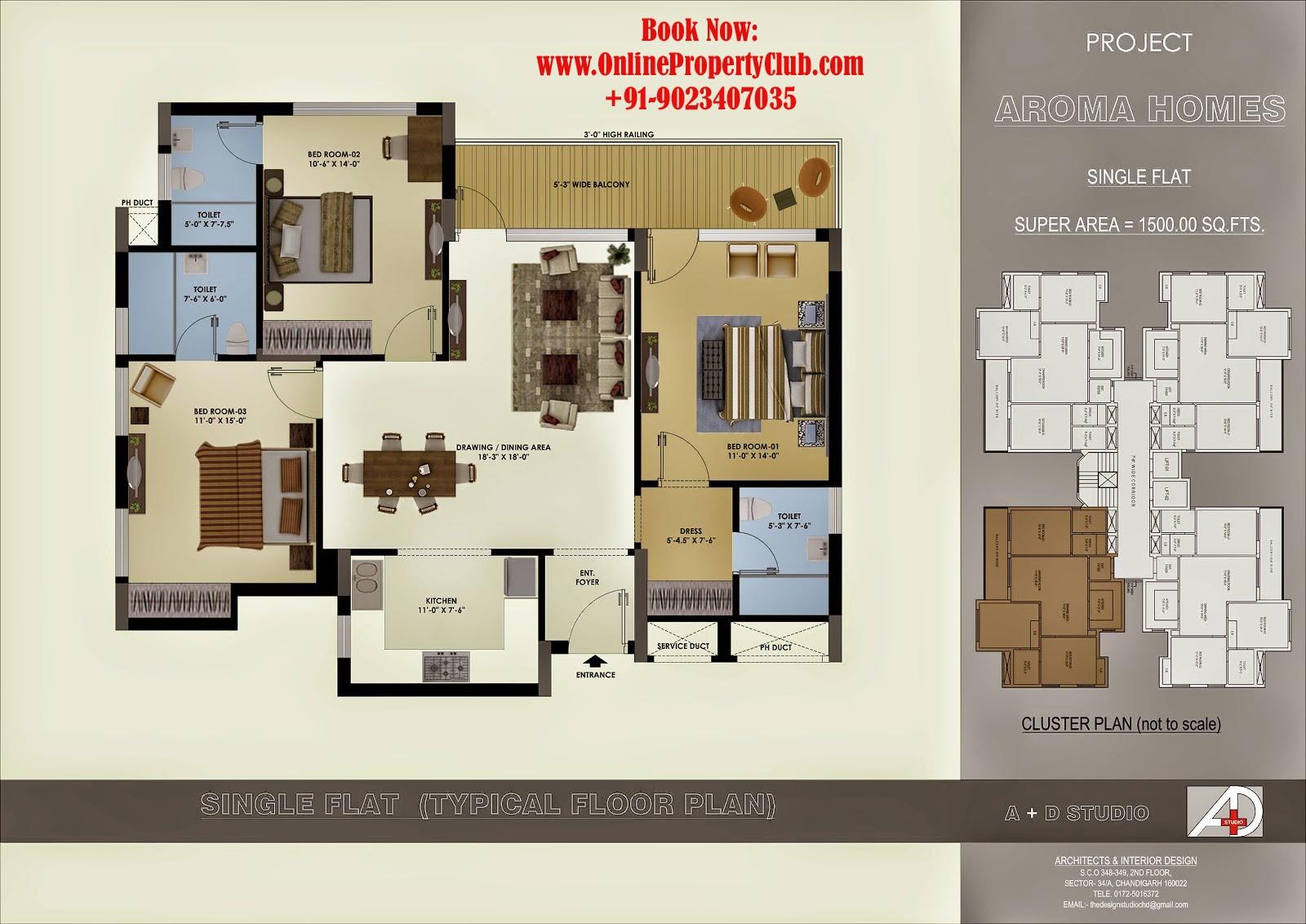 3bhk layout aroma heights mohali sec-125 kharar