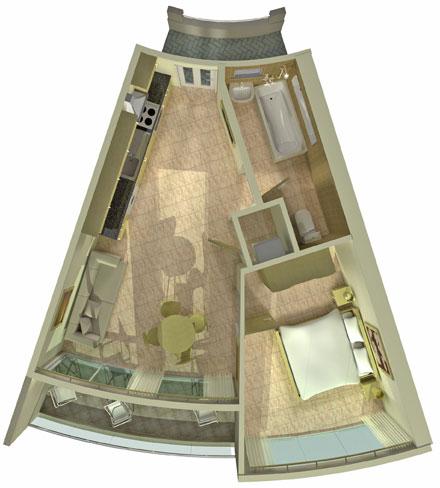 Planos de edificios circulares con departamentos trapecio for Edificio de departamentos planos