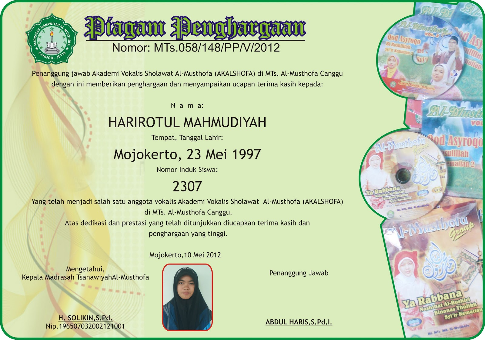 Piagam Untuk Siswa Berprestasi