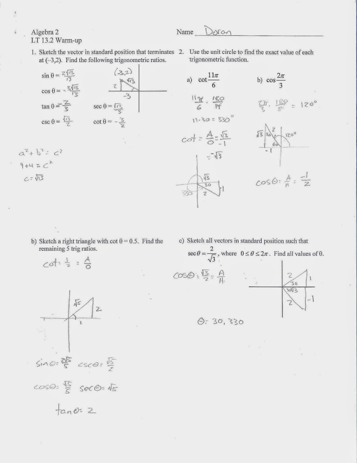Algebra 2 trig homework help