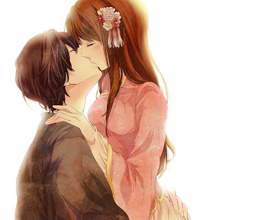 Anime Love Couple Kissing Wallpaper