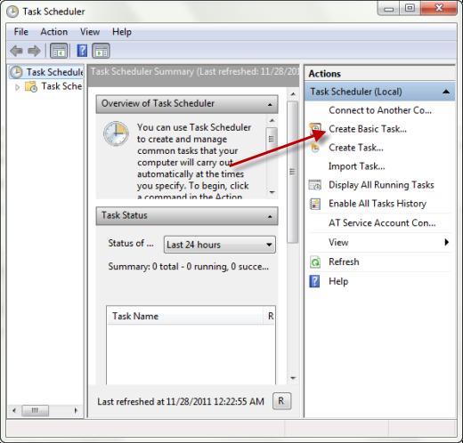 task scheduler create task Cara Membuat Windows 7 Startup Dan Shutdown Terjadwal
