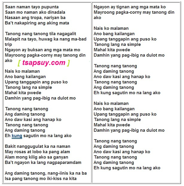 TANONG BY YOUNG JV LYRICS