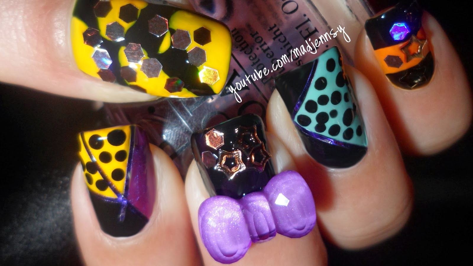 Easy Halloween Party Nail Art Design (using tape and ♡ 3D bow ...