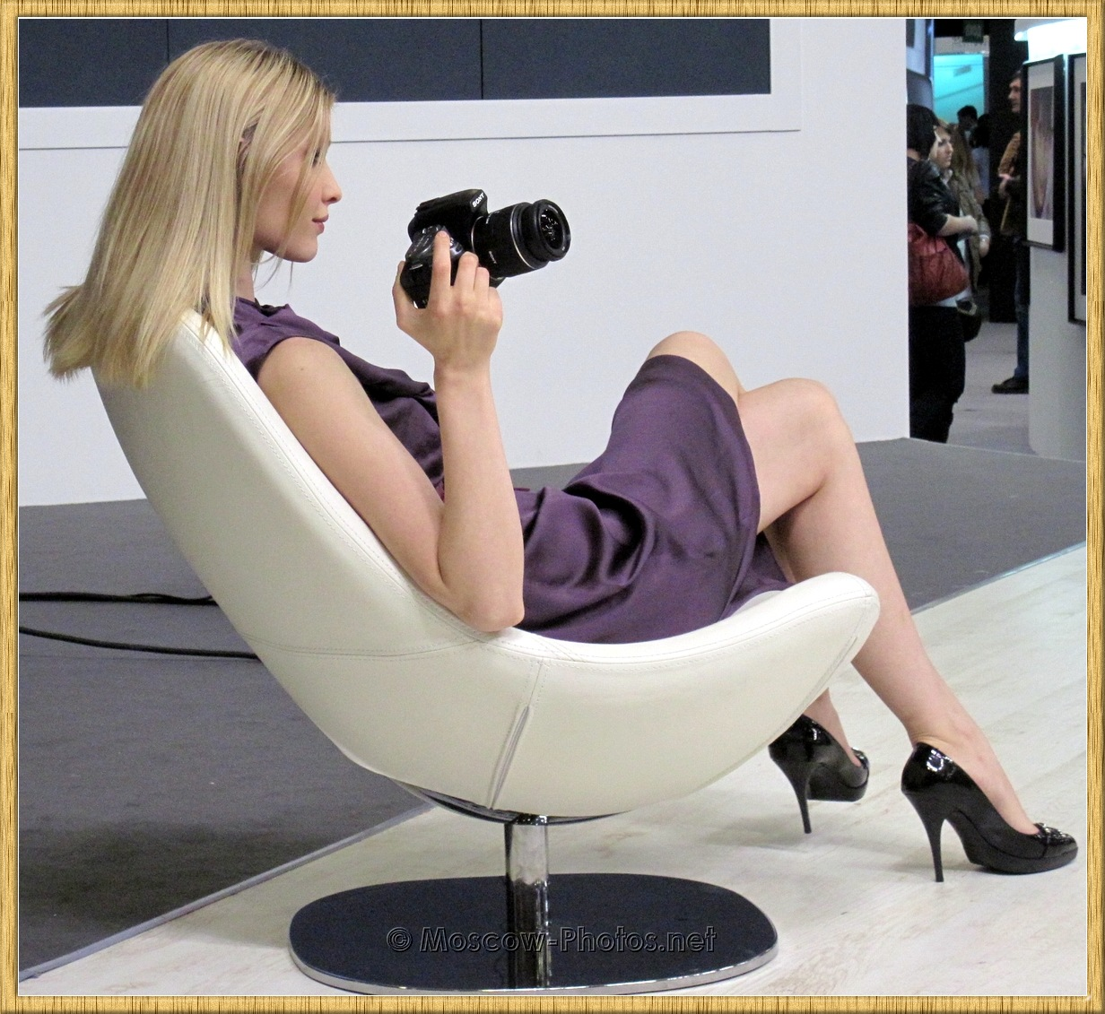 Blonde Moscow Model With Photo Camera