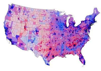 Electoral map by county and voting intensity