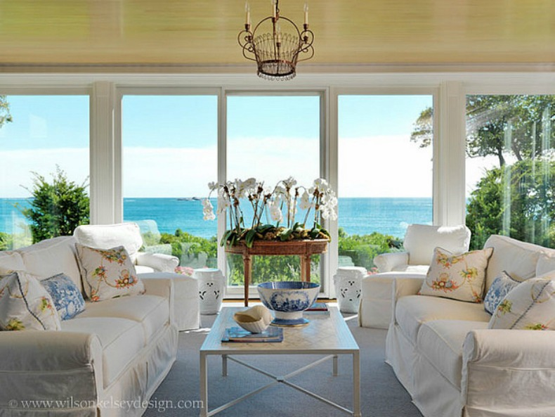White Slipcover Sofas In Coastal Living Room