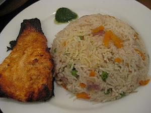 Salmon Tandoori with Fried Rice
