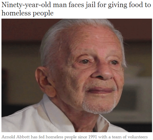 "Image of an elderly man with the headline ""Ninety-year-old man faces jail for giving food to homeless people."""