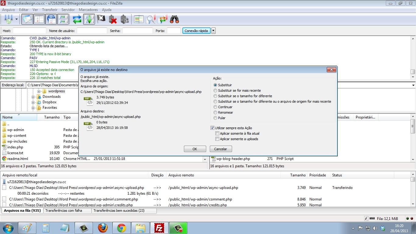 Erro FileZilla ordem de substituir arquivo