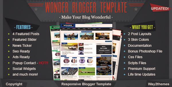 Chia sẻ template blogspot Wonder Responsive cực đẹp