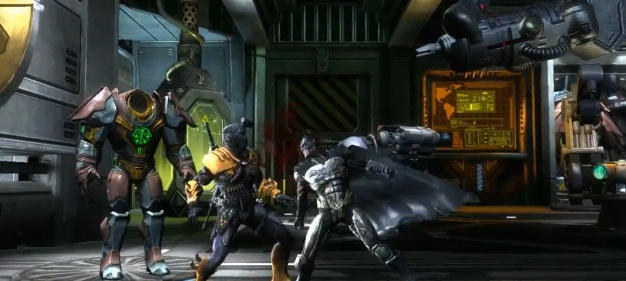 Batman fighting Deathstroke in the video game Injustice: Gods Among Us