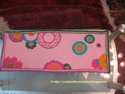 Cross stitch floral table runner