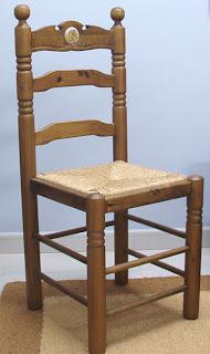 silla de pino, silla rustica, silla anea, silla torneada