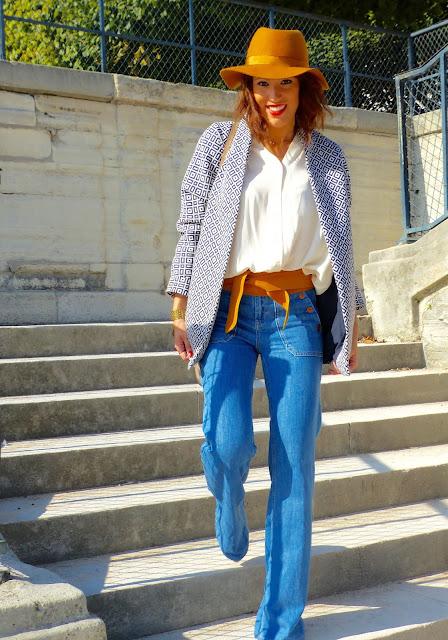 blog mode blouse bash chapeau moutarde