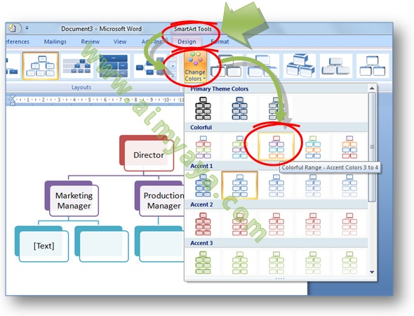 Gambar: Cara mengganti warna struktur organisasi di  Smart Art  Microsoft Word 2007