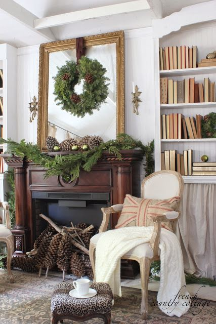 Christmas mantel with pinecones and greens