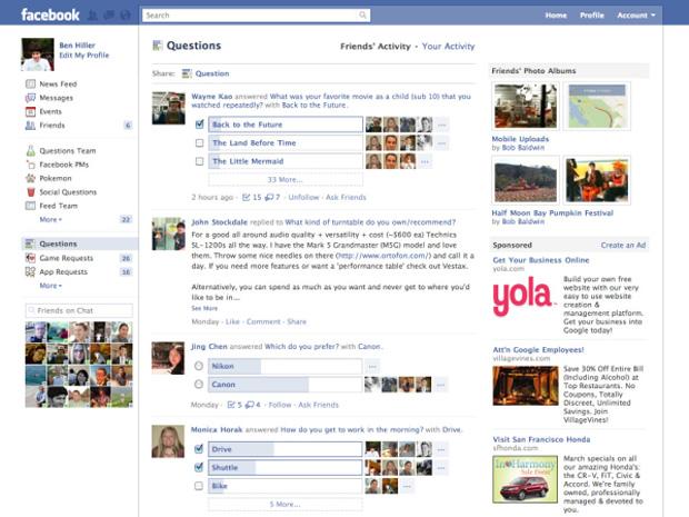 O facebook fez atualizações no aplicativo Facebook questions